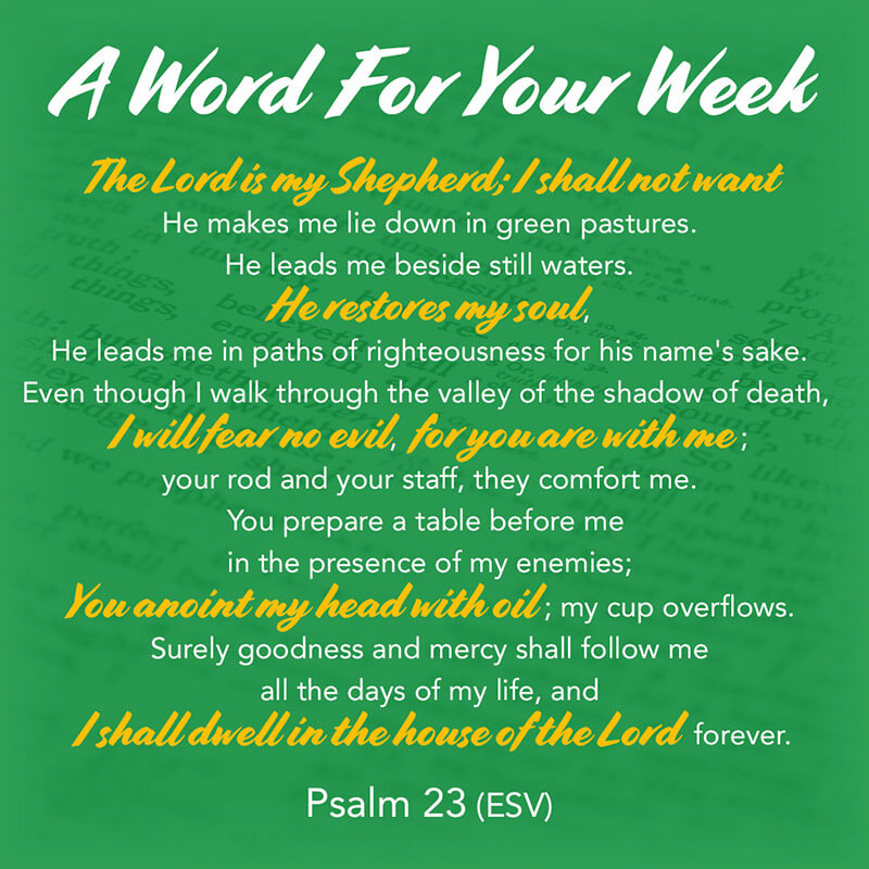 The LMI 'A Word For Your Week' Devotional taken from Psalm 23