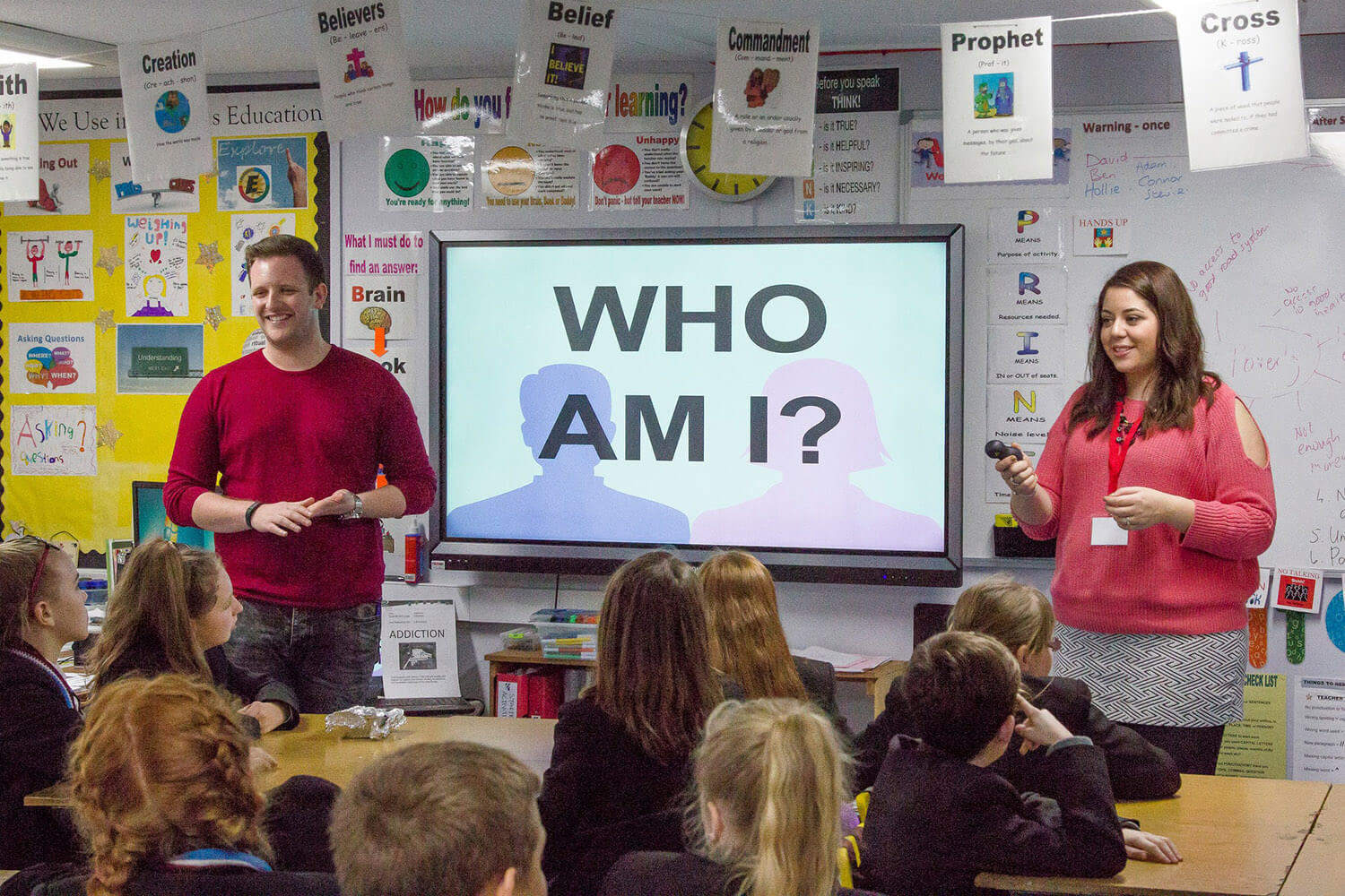 The LMI Youth & Schools Team presenting the the Who Am I programme to students