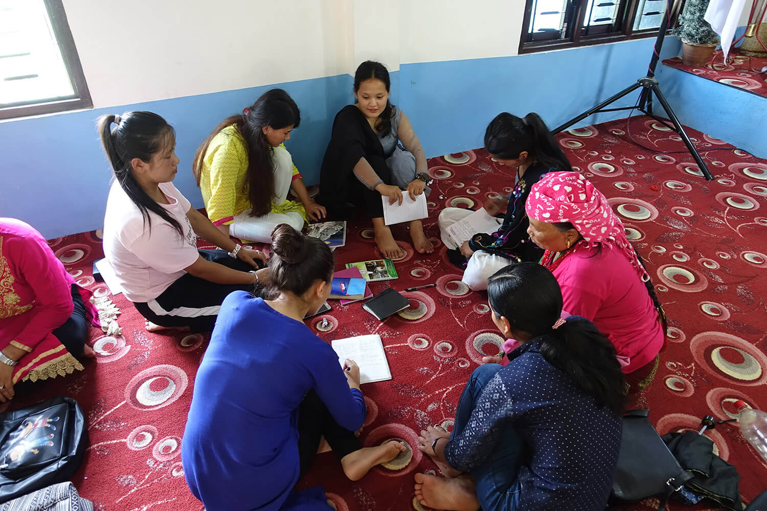 Women's discussion at an LMI Leadership Seminar in Nepal