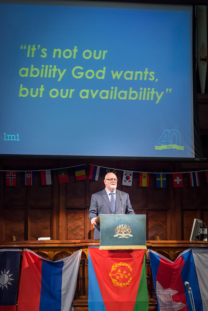 LMI Co-Director Thomas McClean speaking at the 2017 Bangor Worldwide Missionary Convention.