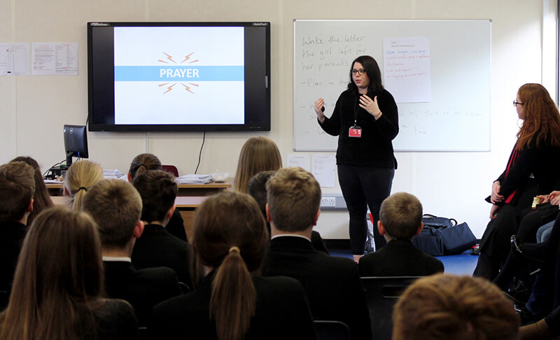 LMI's Youth and Schools Outreach Team member Becky Watson speaking to pupils at Rainey Endowed in Magherafelt.